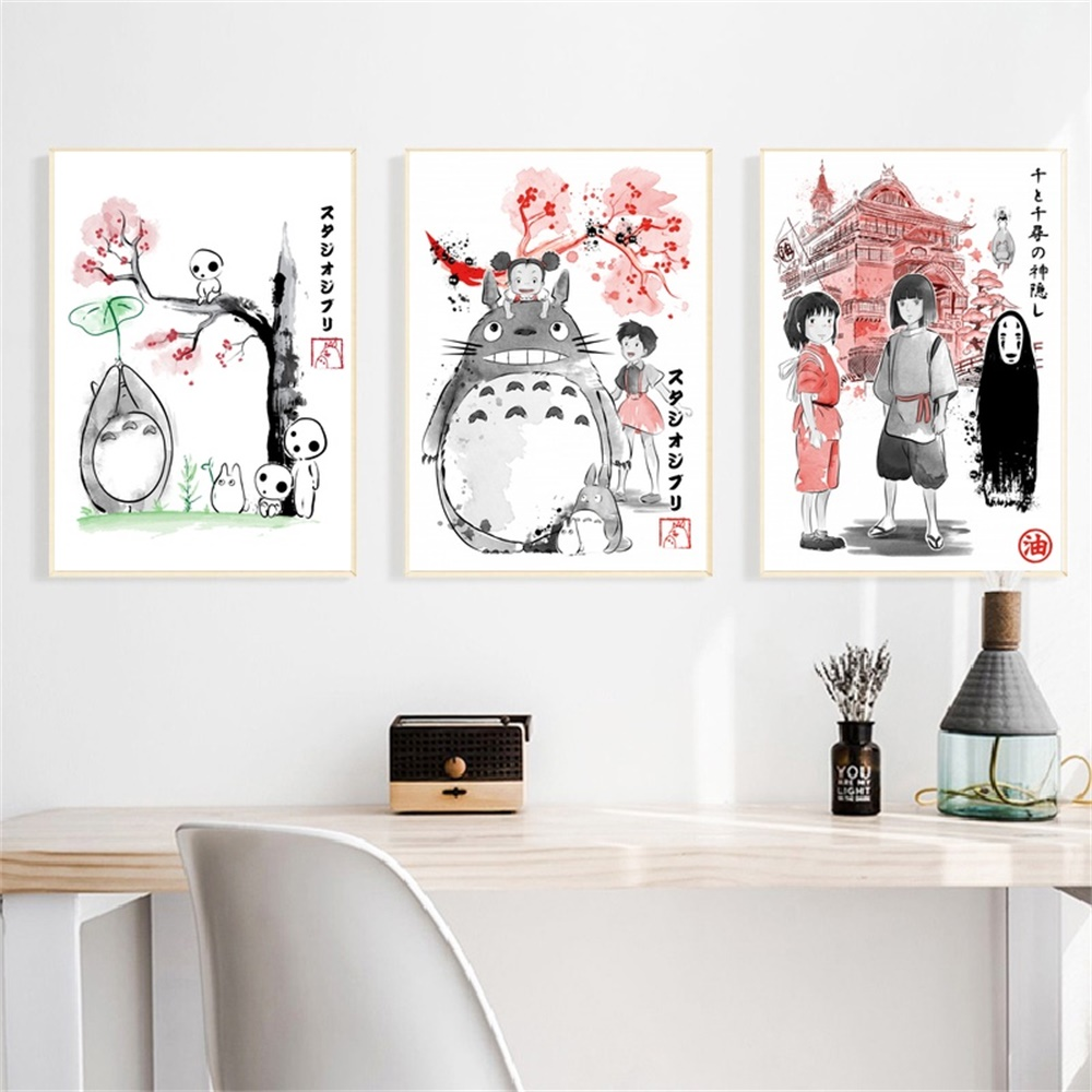 Hayao Miyazaki Movie Totoro Spirited Away art posters Canvas Print Home Decor No Frame image