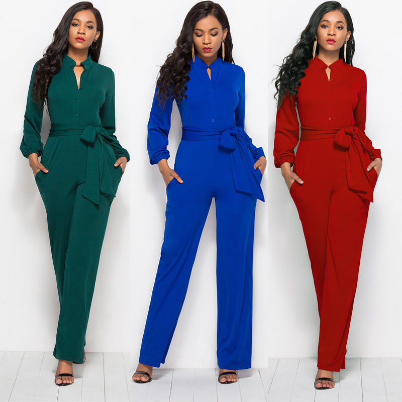 Elegant Lantern Sleeve Waist Bow Lace Up Autumn Jumpsuit Women Office Casual Overalls Pockets Button Wide Leg Jumpsuits 7Colors