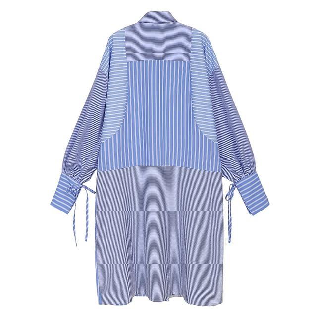 Blue Striped Shirtdress flower accent 2