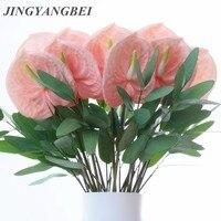 Rosa Flores de anturio plantas verdes para uso en interiores de eucalipto balcón Oficina flores artificiales de bonsái piso flor casa Decoración