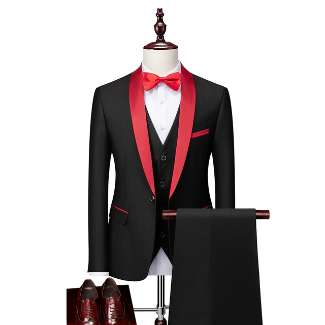 Men Skinny 3 Pieces Set Formal Slim Fit Tuxedo Prom Suit / Male Groom Wedding Blazers High Quality Dress Jacket Coat Pants Vest 3