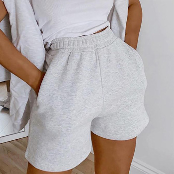2021 Hot Women Fashion Solid Color Shorts High Waist Casual Style Short Sweatpants with Slant Pockets Summer Ladies Loose Shorts 1