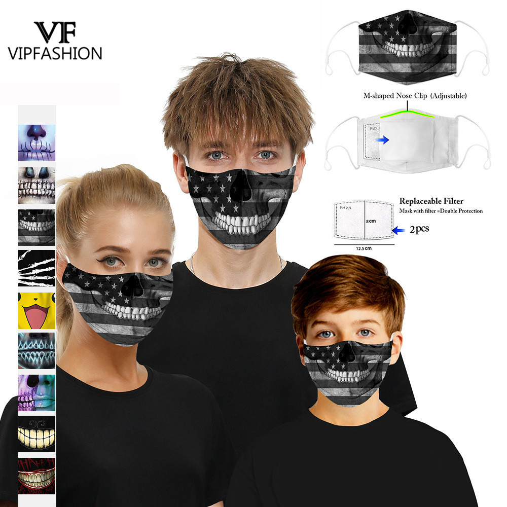 VIP FASHION Hot Selling Anti-Dust Printed Lovely Breathable Cartoon Adult Kids Funny Face Masks 5-Layer