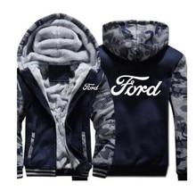 Homem Moda inverno Roupas Com Zíper FORD moletom hoodies casaco 5 Cor homens jaqueta Engrossar