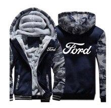 Winter Fashion man Clothes Zipper FORD sweatshirt hoodies coat 5 Color men jacket Thicken