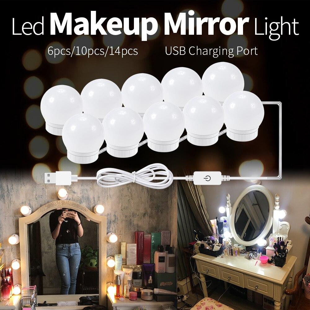 WENNI Makeup LED Lamp USB LED Vanity Light Bathroom Mirror LED Light Dressing Table Lighting 2 6 10 14Bulbs Dimmable Wall Lamp
