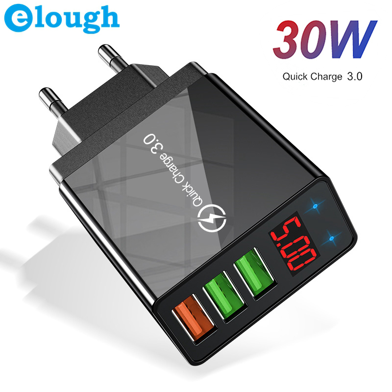 Elough Quick charge 3.0 USB Charger for iPhone 11 7 Xiaomi Samsung Huawei 5V 3A Digital Display Fast Charging Wall Phone Charger(China)