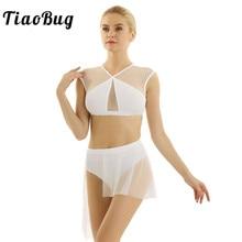 TiaoBug Women Asymmetrical Mesh Tutu Ballet Dress Dancewear  Crop Top with Mini Shorts Skirt Contemporary Lyrical Dance Costumes