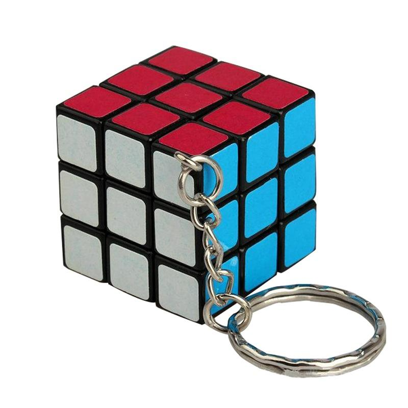3x3x3 Magic Cube Mini Speed Rubik Puzzle Twist Keychain Keyring Keyfob Toy Gift