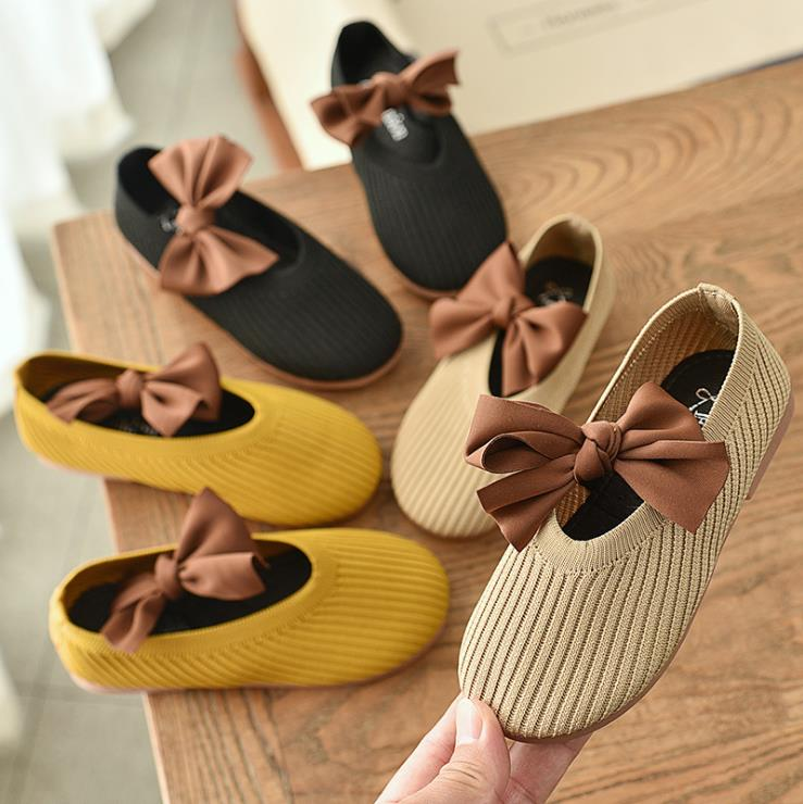 Children Girls Kittens Bowknot Princess Shoes Flat Casual Shoes 3colors 21-30 MQ666 TX07