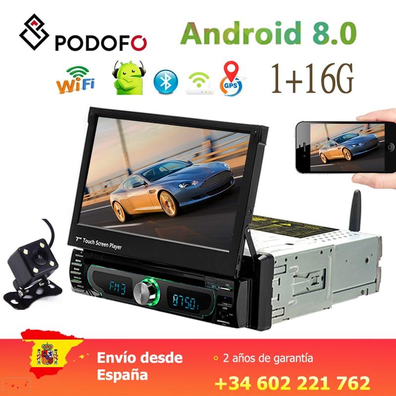 Podofo 1din Android Autoradio DVD Player Navegação GPS Wifi Bluetooth 7