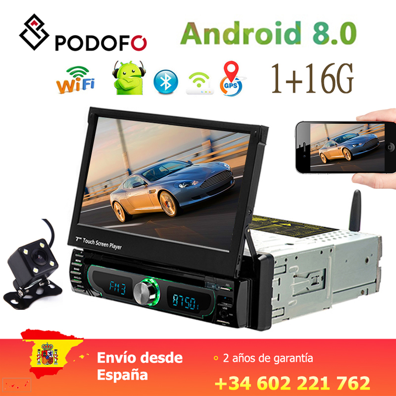 Podofo 1din Android Autoradio lecteur DVD Wifi GPS Navigation Bluetooth 7