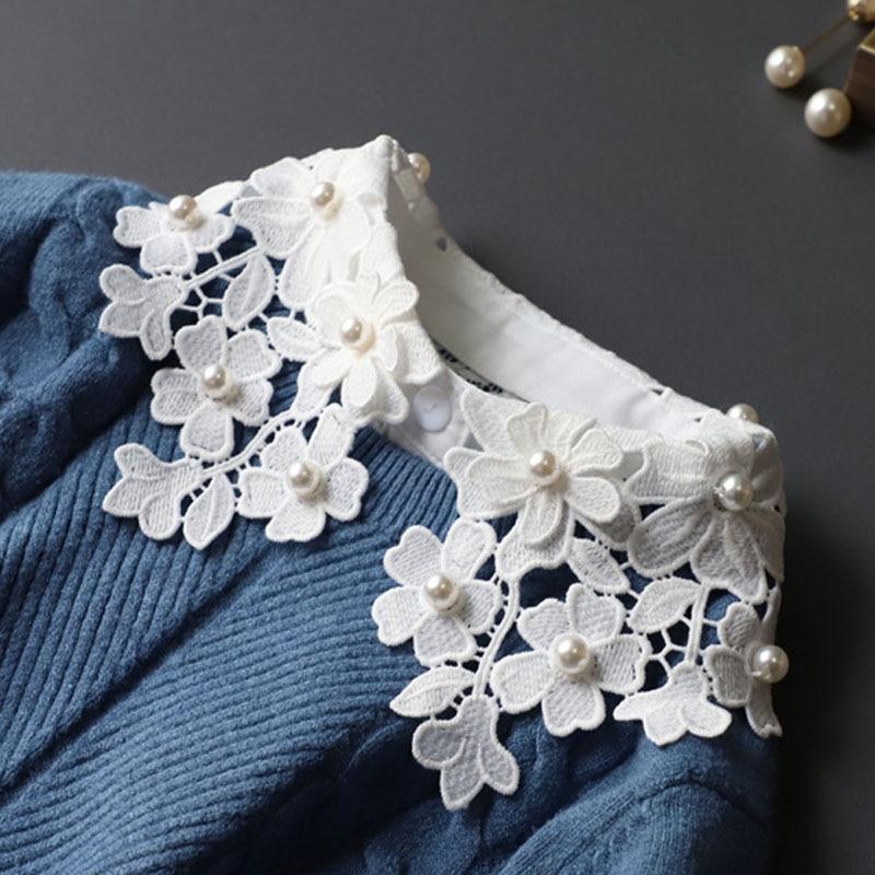 Elegant Beaded Lace Fake Collar Cotton White Detachable Collar Fake Women Vintage Stand Ladies False Blouse Collar Half Shirt