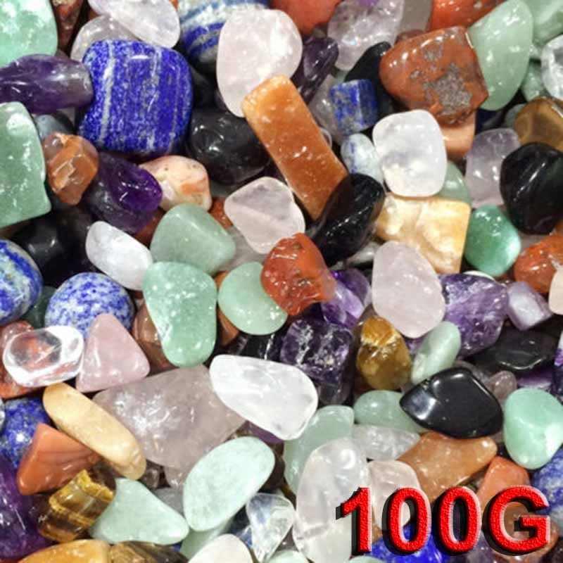 100 グラムナチュラルカラフルな砂利水晶ミニ石岩チップ標本タンク家の装飾の装飾サイズ 7-9 ミリメートル