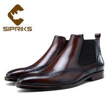 Botas Sipriks para hombre de cuero marrón Chelsea clásicas botas de tobillo de lujo para botas de vaquero Hombre Zapatos de vestir wingtip altas 44