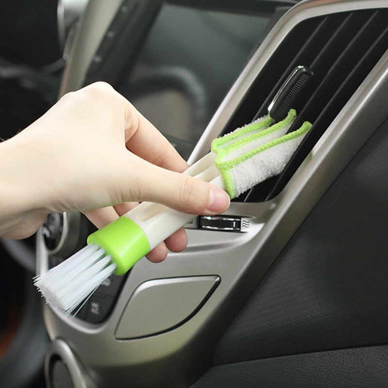 Nettoyage de voiture 2 en 1 brosse de nettoyage sortie de climatiseur nettoyage brosse à poussière trou Sash rainures outil de nettoyage accessoires de voiture