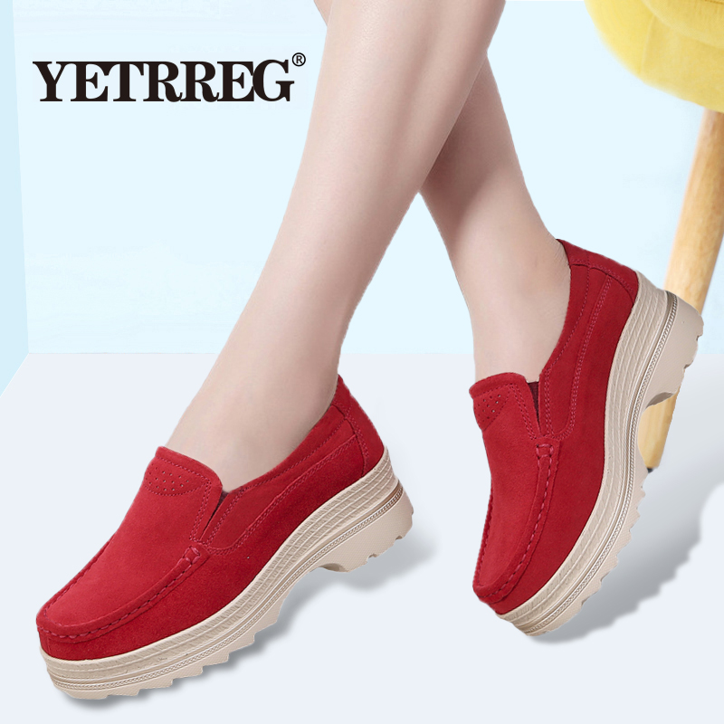 Sneaker Woman Moccasins Loafers Platform-Shoes Suede Flat Autumn Fashion New Non-Slip