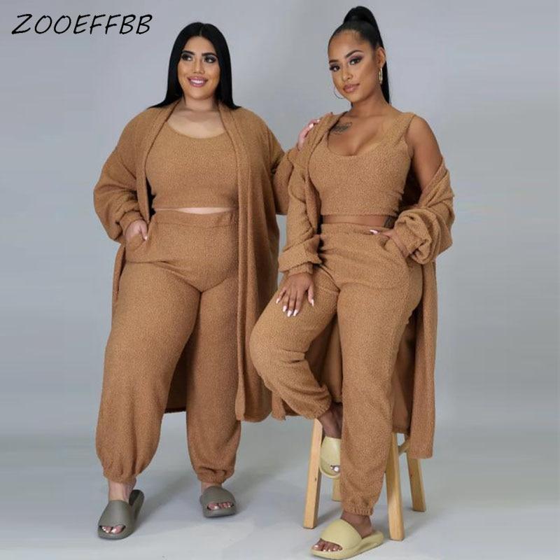 Zooeffbb plush agasalho feminino três peças roupas de inverno manga longa casaco + tanque superior calças lounge wear conjuntos combinando