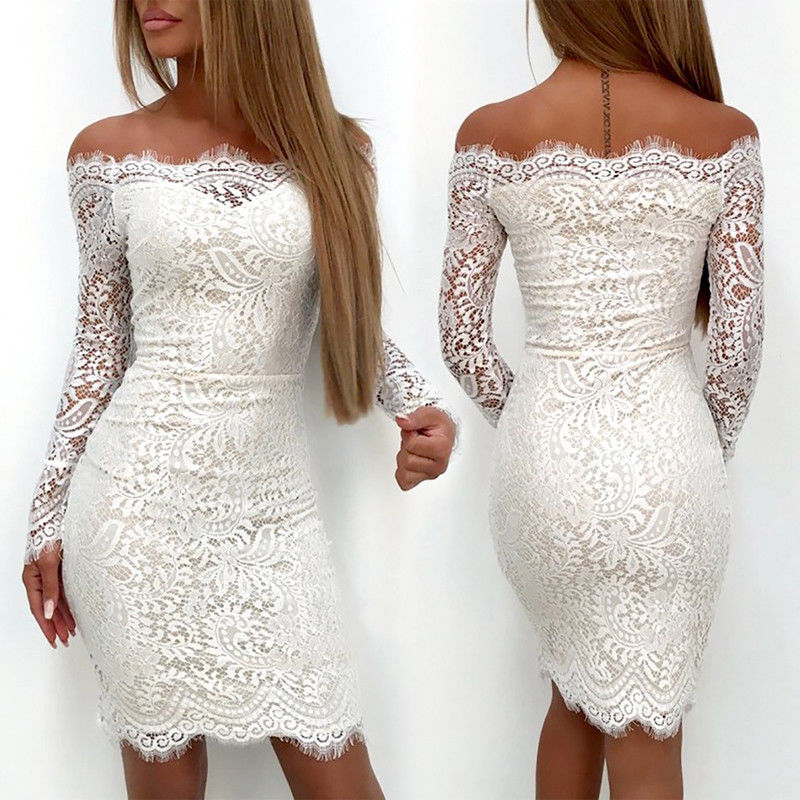 2019 Sexy Women White Lace Dress Elegant Ladies Off Shoulder Summer Women's Long Sleeve Party Pencil Dress Vestidos