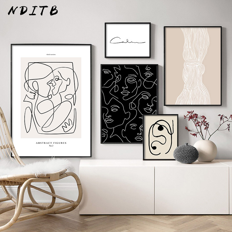 Abstract Line Canvas Black White Wall Art Minimalist Print Painting Nordic Poster Woman Body Picture Modern Living Room Decor