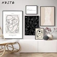 Línea abstracta de la lona arte de la pared blanco negro impresión minimalista pintura nórdico cartel mujer Cuerpo Moderno imagen Decoración Para sala de estar
