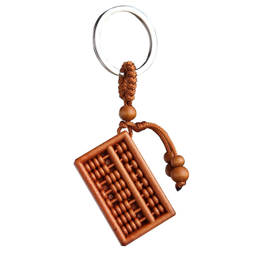 New Fashion Men's Wood Carved Abacus Shaped Key Chain Key Ring Holder Lucky Keychain Gift For Trendy Car Bag Keychain Jewelry image
