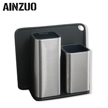 AINZUO 8 inch Kitchen Knife Holder Storage Stainless Steel Cutlery Block Stand Large Capacity Multifunctional Seat