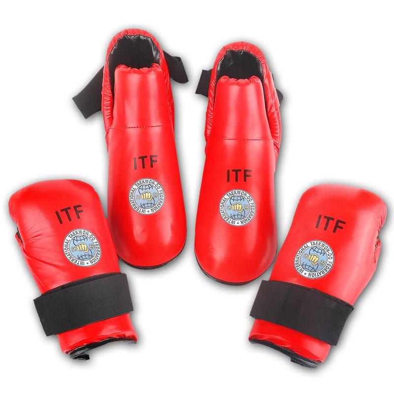 Guarda de pé Couro do Plutônio Boxe para Adulto Taekwondo Luvas Conjunto Protetor Tornozelo Alta Qualidade Calçado Bota Criança Itf