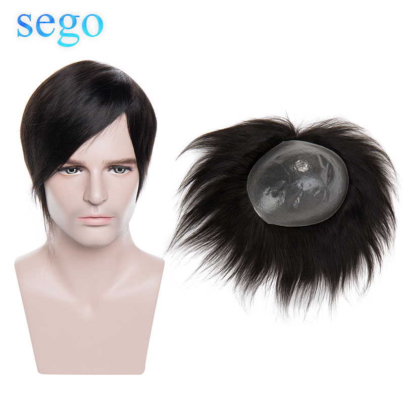 SEGO Straight PU&MONO&Lace 6 Inch Non-Remy Hairpieces Men Human Hair Toupees Indian Hair Durable 8x10cm Density 120% 75g/pcs