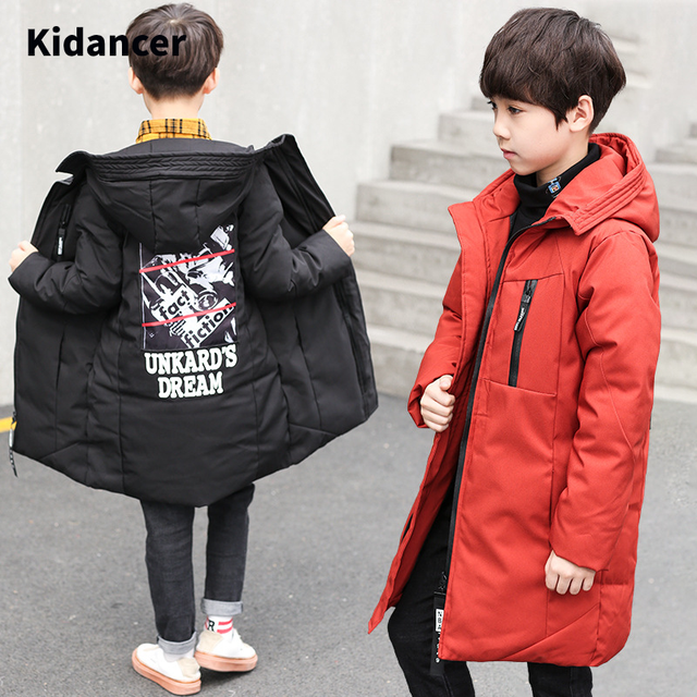Winter Jacket Boys Overalls Childrens Warm Thick Jacket Coat Teenager 4 16yrs Parkas For Children Clothes Kids Outerwear&Coats
