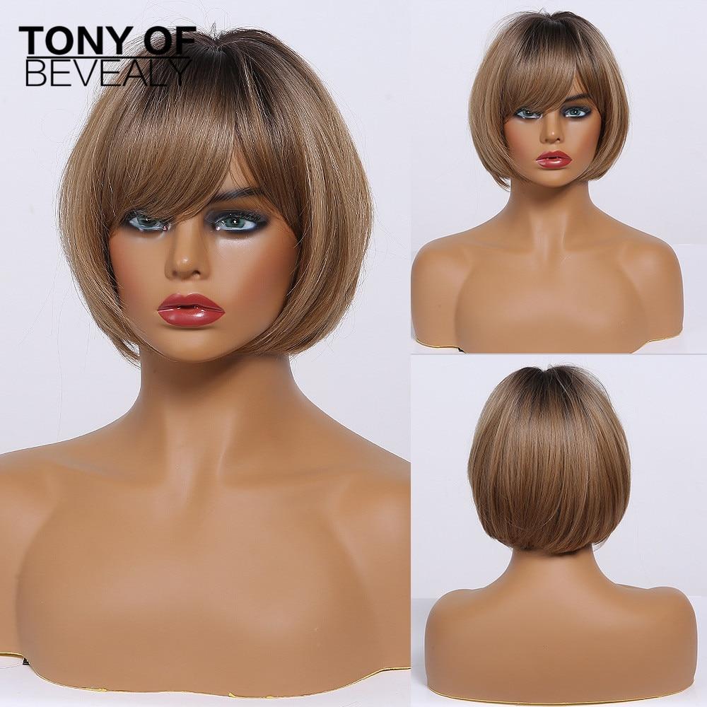 Perucas sintéticas com franja para o cabelo natural resistente ao calor do cosplay do penteado do bobo