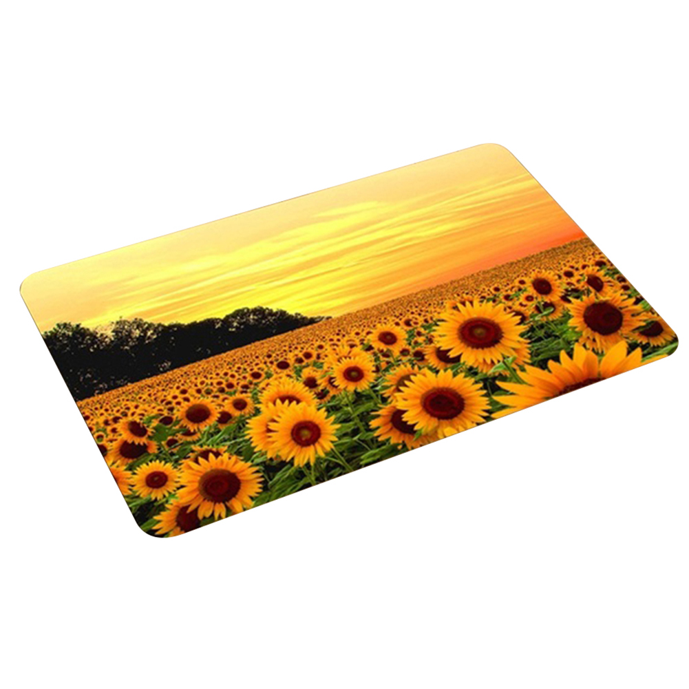 Flannel Non-slip Water Absorption Sunflower Door Mat Carpet Floor Bathroom Decor