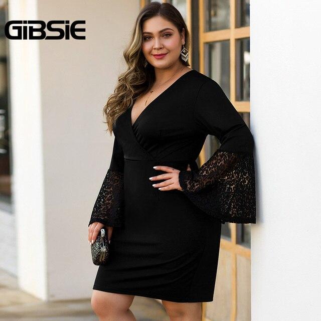 GIBSIE Women Black Elegant Lace Flare Long Sleeve Party Bodycon Dress Autumn winter Office Lady Plus Size V-Neck Mini Dresses 4