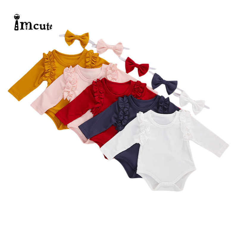 Imcute 5 Colors New Autumn Baby Romper with Headband Solid Color Round Neck Long Sleeve Jumpsuit and Headwear for Girls Boys