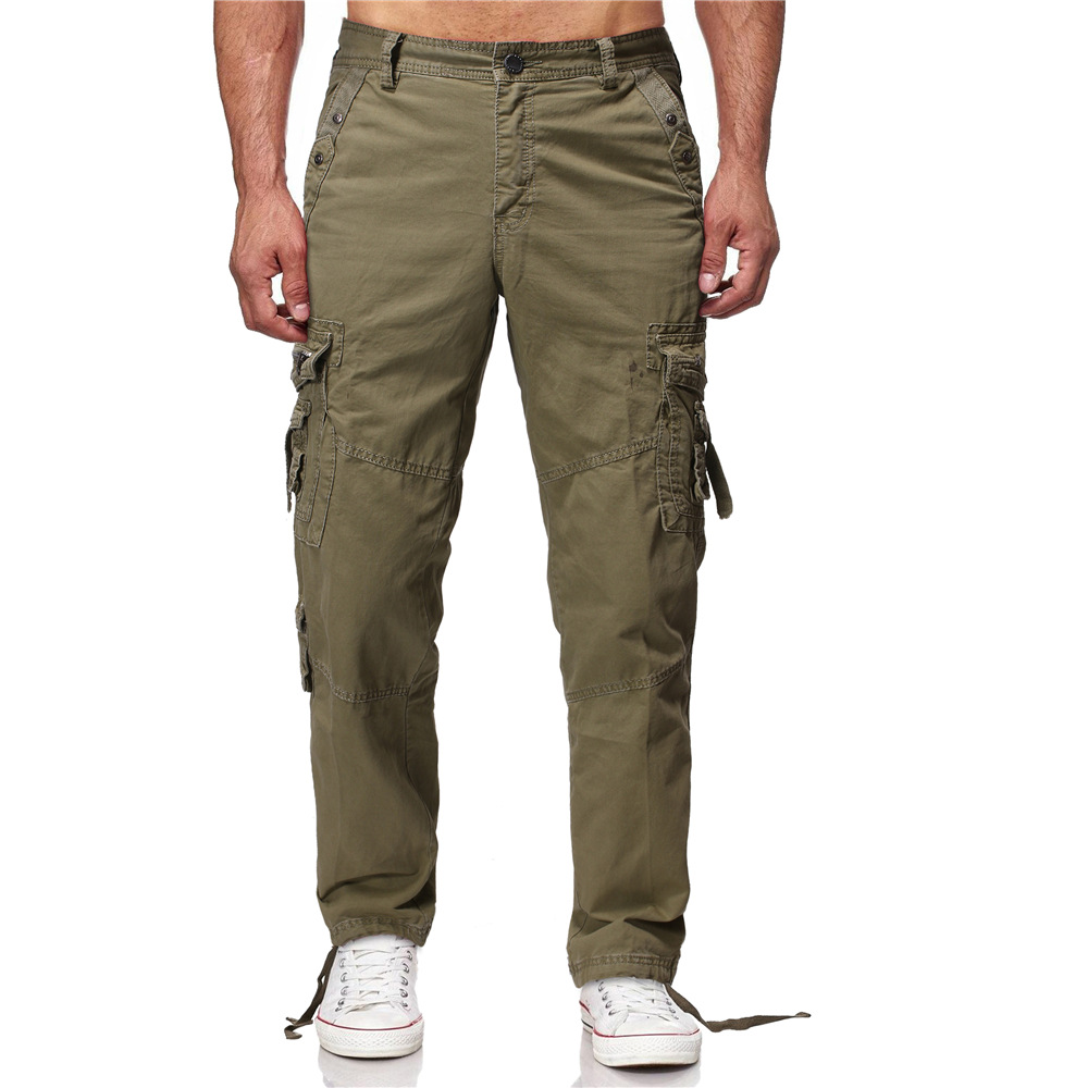 Europe And America Large Size Loose Casual Pants Multi-pockets Washing Straight Women Bib Overall Men's