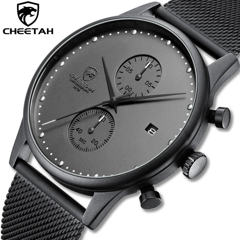 New CHEETAH Brand Men Watches Chronograph Quartz Watch Men Stainless Steel Waterproof Sports Clock Watches Business Reloj Hombre
