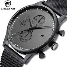Nova marca cheetah relógios masculinos cronógrafo relógio de quartzo aço inoxidável à prova dwaterproof água esportes relógios negócios reloj hombre