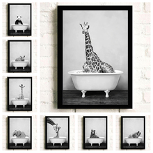 Black and White Animals Wall Art Bathroom Bathtub Poster Elephant Lion Panda Giraffe Canvas Print Nursery Picture for Kids Room