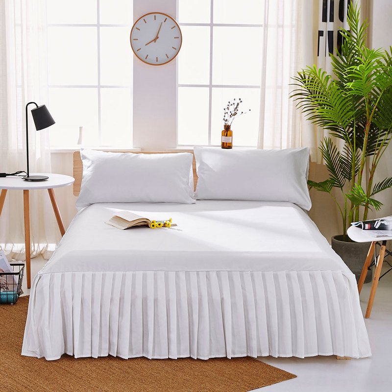 1pc Sanding Bedspread Solid Color Fitted Sheet Cover Soft Non-Slip King Queen Bed Skirt Protector Bed Mat Cover 1.2m/1.5m/1.8m 1