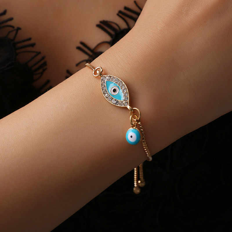 Lucky niebieskie oko bransoletki dla kobiet cyrkon regulowany łańcuch w kolorze złotym Charm bransoletka para biżuteria kobiet prezent hurtowych