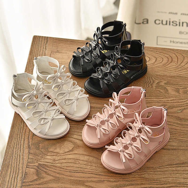 Summer Girls Sandals Cute Bowtie Girls Shoes Princess Flat Sneakers Children Baby Girl Shoes Rome Sandals Size 21-36 SM058