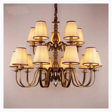 Large Antique Brass Pendant chandelier Retro Bedroom Living room hanging lamp 3-15 arms luxury Home Hotel chandelier lamps D56(China)