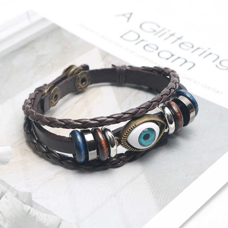 2020 New Punk Design Turkish Evil Eye Bracelets Wristband Female PU Leather Bracelet Ethnic Vintage Jewelry For Women Men Bijout
