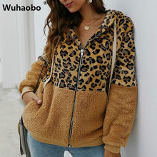 Wuhaobo Leopard Patchwork Vrouwen Teddy Jas Herfst Hooded Fluffy Pluche Winter Faux Fur Jas Jas Vrouwen Plus Size Overjas(China)