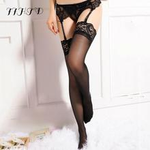 Stockings Female Erotic Cheap Sexy Women Sheer Lace Top Thigh High Lingerie Freeshipping
