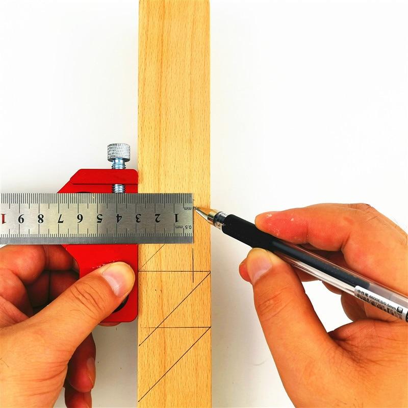 Carpentry DIY Woodworking Angle Scriber Steel Ruler Positioning Block Line Scriber Gauge Aluminum Alloy For Measuring Tools