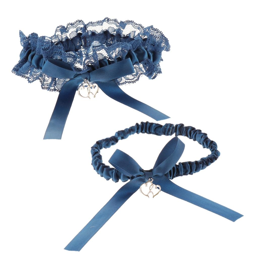 Pack Of 2 Elegant Wedding Bridal Bowknot Love Heart Pendant Lace Garter Throwaway Toss Leg Ring Blue One Size