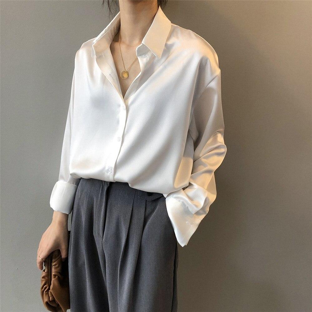 High quality Women Silk Satin Blouse 2020 Summer Women Satin Blouses Shirt Office Long Sleeves Femme V Neck Loose Street Shirts (14)