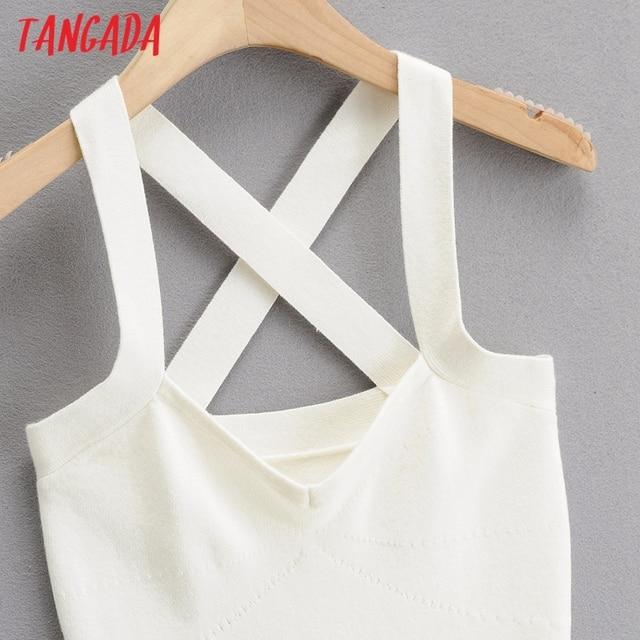 Tangada 2021 fashion women solid elegant summer knit dress strethy strap sleeveless ladies short dress 4P46 3
