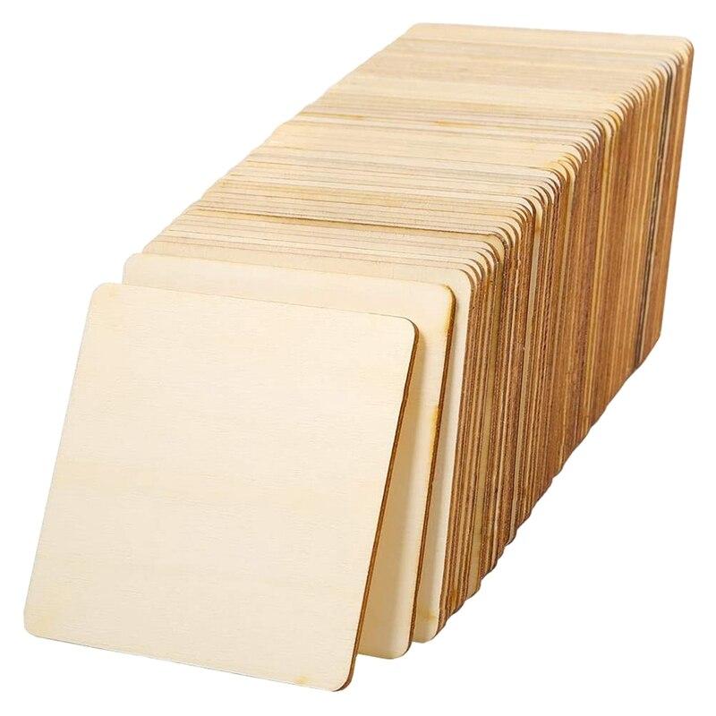 72 piezas de madera cuadradas sin terminar en blanco 4x4 pulgadas, para posavasos, pirograbado, pintura, escritura, accesorios y decoraciones de fotos